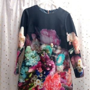 b7ade7c53043d Ted Baker Long Sleeve Vyra Floral Tunic Dress